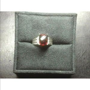 David Yurman 10x8mm Garnet Diamond Ring Sz 8